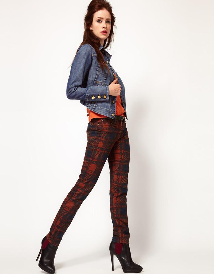 Vivienne Westwood Anglomania For Lee Skinny Jean In Printed Tartan Print