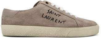Saint Laurent Pink Embroidered Court Classic Sneakers