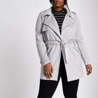 River Island Womens Plus grey faux suede longline trench jacket