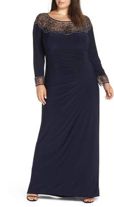 Xscape Evenings Side Ruched Beaded Gown
