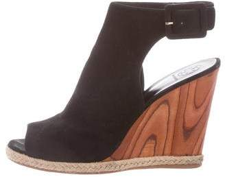 Tory Burch Suede Open-Toe Wedges