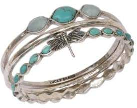 Lucky Brand Silvertone and Faux Turquoise Three Bangle Set