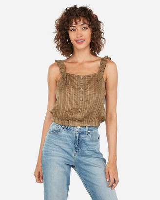 Express Shadow Striped Button Front Ruffle Cropped Tank