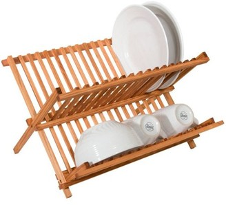 Generic Two Level Folding Kitchen Counter Top Bamboo Dish Rack Drainer