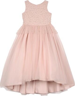 Badgley Mischka Collection Imitation Pearl Beaded Peplum Dress