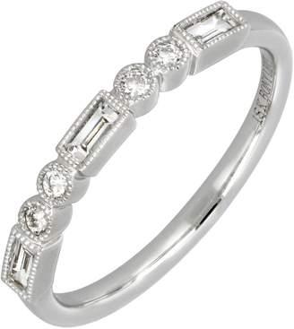 Bony Levy 18K White Gold Bezel Set Baguette & Round Cut Diamond Stackable Band Ring - Size 6.5 - 0.25 ctw