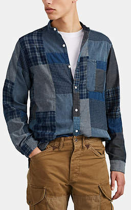 RRL Men's Patchwork Cotton Shirt - Blue