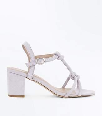 New Look Girls Grey Suedette Knot Front Block Heels