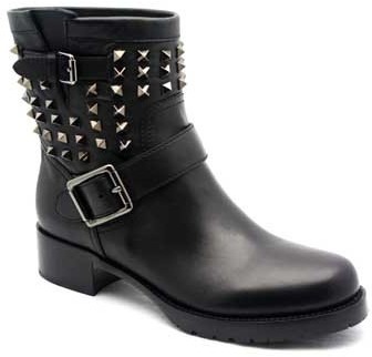 "Valentino FWS00307"" Black Leather Ankle Boot With Studs"