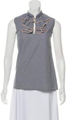 a3d10329227bfd 21 Sleeveless Ruffle Trim Gingham Top