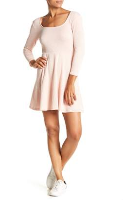 HIATUS 3/4 Sleeve Solid Skater Dress