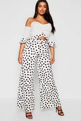 boohoo Plus Polka Dot Bardot Crop & Trouser Co-ord Set