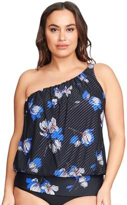 644ffc1152 Women's Mazu Swim Plus Size Asymmetrical One Shoulder Mesh Blouson Tankini  Top