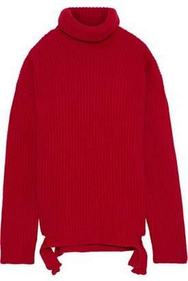 Iris & Ink Cherry Ribbed Wool Turtleneck Sweater