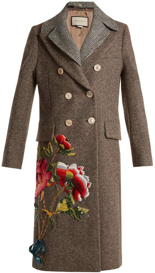 GUCCI Sequin-embellished double-breasted wool coat