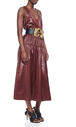 Tibi Liquid Drape Shirred Waist Dress