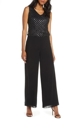Pisarro Nights V-Neck Beaded Mock Two-Piece Jumpsuit