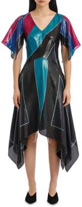 Diane von Furstenberg Flutter Sleeve V Neck Dress