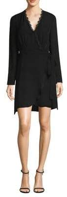 L'Agence Trino Lace-Trim Wrap Dress