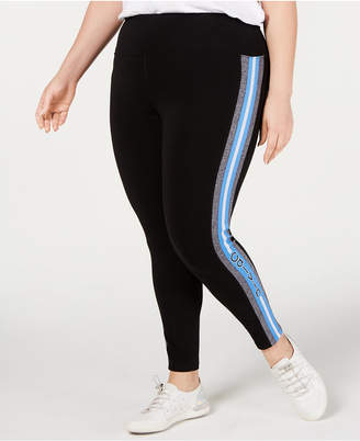Calvin Klein Plus Size Logo-Stripe Ankle Leggings