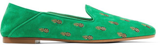 Aquazzura - Ananas Embroidered Suede Slippers - Green $595 thestylecure.com