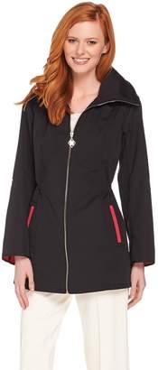 Dennis Basso Water Resistant Zip Front Jacket with Hidden Hood