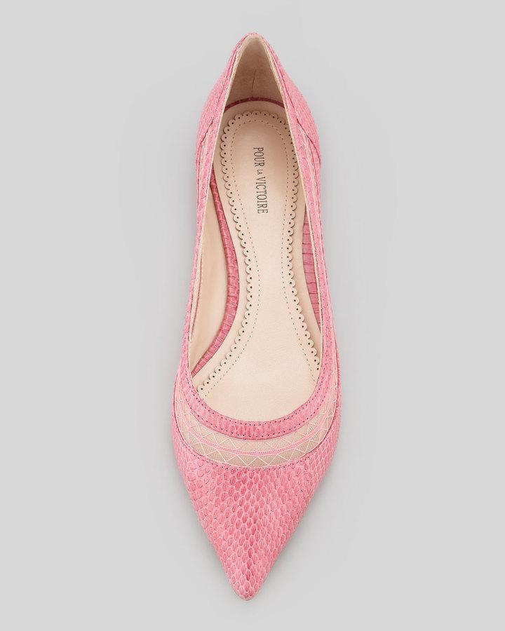 Pour La Victoire Braelyn Snake Mesh-Collar Flat, Pink