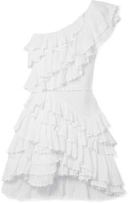 Isabel Marant Zeller One-shoulder Ruffled Broderie Anglaise Cotton Mini Dress - White