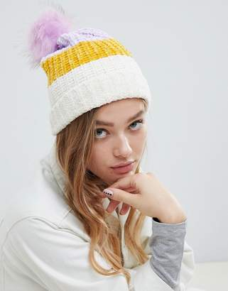 Pull&Bear chenille bobble hat with faux pom pom