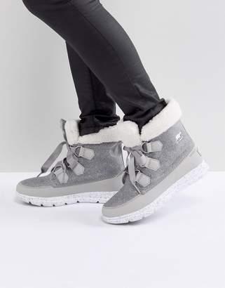 Sorel Explorer Carnival Gray Waterproof Flat Boots