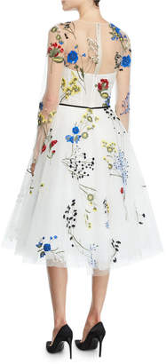 Monique Lhuillier Long-Sleeve Floral-Embroidered Tulle Illusion Dress