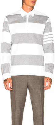 Thom Browne Relaxed Fit Long Sleeve Polo