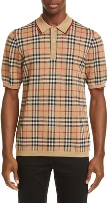 Burberry Westbrook Vintage Check Short Sleeve Merino Wool Polo