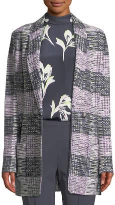 St. John Anna Long Plaid-Knit Blazer
