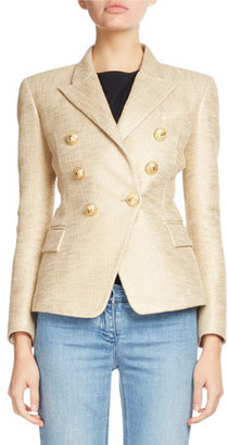 Balmain Classic Double-Breasted Tweed Blazer, Gold $1,860 thestylecure.com