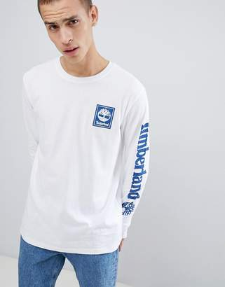 Timberland sleeve logo long sleeve top in white