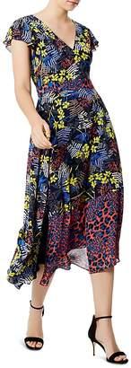 Karen Millen Mixed Print Lace-Up Midi Dress