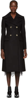 Helmut Lang Black Tailored Melton Coat