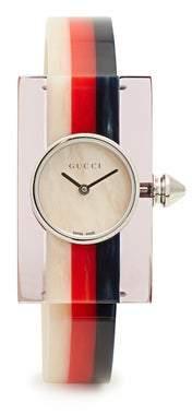 Gucci Sylvie Web Striped Plexiglass Watch - Womens - Blue