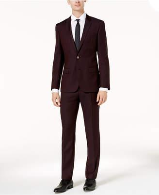 HUGO BOSS HUGO Men's Slim-Fit Burgundy Micro-Grid Suit