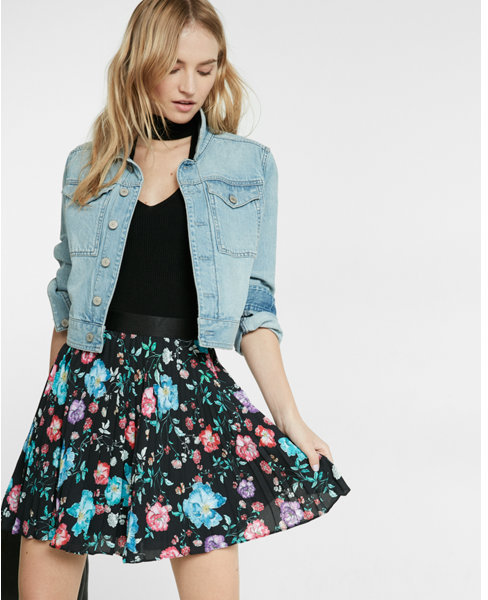 Express high waisted floral print pleated mini skirt