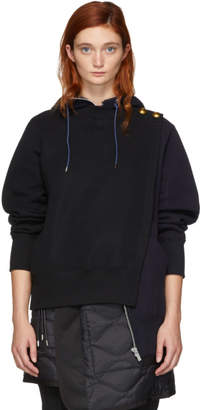 Sacai Black and Navy Pullover Zip Hoodie