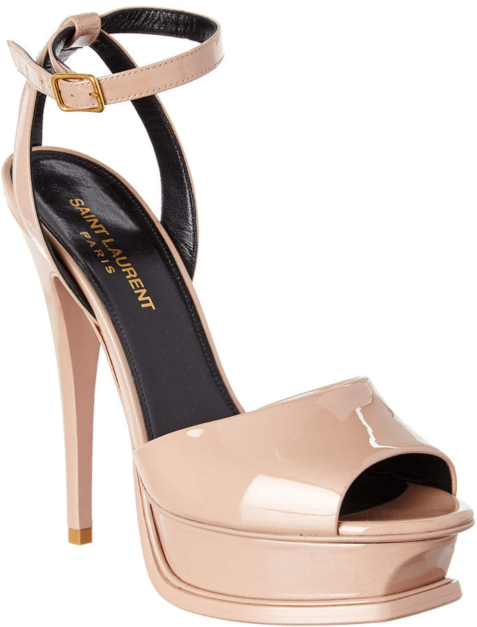 Saint Laurent Tribute 105 Peep-Toe Patent Sandal