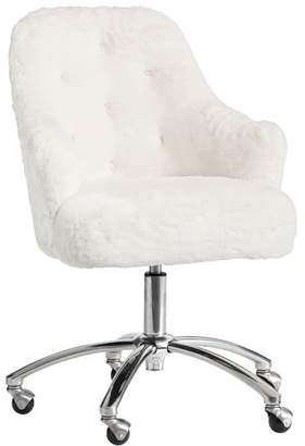 Pottery Barn Teen Polar Bear Faux-Faux-Fur Tufted Desk Chair