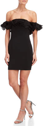 Jay Godfrey Black Roseberry Ruffled Off-the-Shoulder Mini Dress