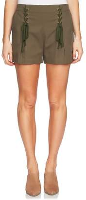 1 STATE 1.STATE Lace-Up Detail Flat Front Shorts