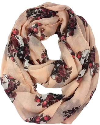 Lina & Lily Skull Rose Print Women's Infinity Scarf