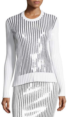 Cédric Charlier Sequin-Striped Crewneck Sweater