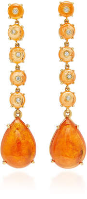Nina Runsdorf M'O Exclusive: One-Of-A-Kind Spessartite Garnet Bead And Cabochon Drop Earrings