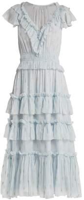 Rebecca Taylor Ruffled Fil Coupe Silk Blend Dress - Womens - Light Blue